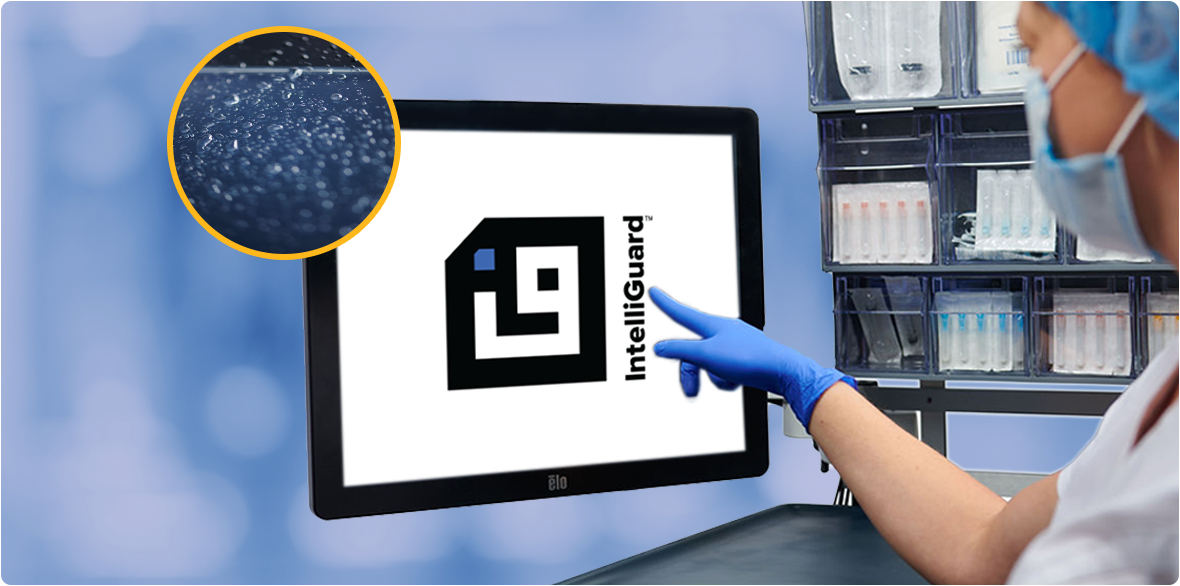 The large touchscreen monitor on the IntelliGuard Anesthesia Station is fluid resistant - closeup image
